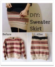 Upcycling Nähidee Rock #diy #skirt #sweater (Diy Shirts Skirt)