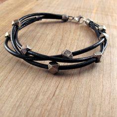 Chunky Leather & Silver Bracelet for Men. $72.00, via Etsy.