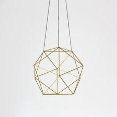 Brass Orb Himmeli / Modern Hanging Mobile / Geometric Sculpture / Air Plant Hanger