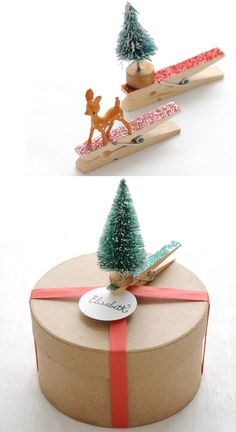 sweet #diy glittered clothespin gift toppers by Creature Comforts