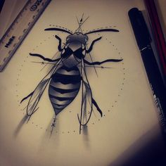 Wasp design for a friend :) #tattoodesign #wasp #drawing #art #tattooartist #design #ink #iguk #igers #ignation #instagood #uk