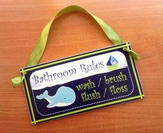 Kids Bathroom Art Rules – Wash, Brush, Flush and Floss sign decor plaque – Blue Whale nautical – ocean themed