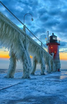 Ice Beast~2 ~ by Charles Anderson ~ Lighthouse ~ South Haven ~ Michigan ~ USA