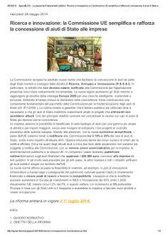 Ricerca e innovazione: nuova disciplina Aiuti di stato UE by Alberto Cardino - AGEVOFACILE via slideshare
