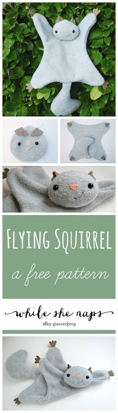 A free pattern for a Flying Squirrel softie. Sewing Toys, Baby Sewing, Sewing Crafts, Sewing Projects, Sewing Stuffed Animals, Stuffed Animal Patterns, Sewing For Kids, Diy For Kids, Softies