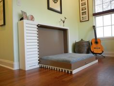 Bedroom: Wall Bed Space Saving Furniture For Wall Unit Idea With Built In Armoire And Wood Floors Ikea Murphy Bed Kit Murphy Bed With Shelves Ikea Twin Mattresses Diy Houston Beds Princess Twin Bed: Ulisse Bed with Highly Ingenious Design for Mini Space