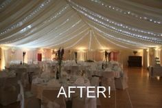 Malborough Village Hall dressed with ivory linings and festoon lighting makes a perfect wedding venue Wedding Venues In Virginia, Chicago Wedding Venues, Inexpensive Wedding Venues, Wedding Receptions, Marquee Decoration, Wedding Hall Decorations, Halle, Hall Construction, English Country Weddings