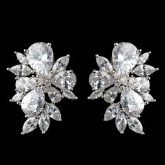 Multi Cut CZ Cluster Stud Wedding Earrings - beautiful mother of the bride accessory! -Affordable Elegance Bridal -