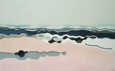 Unquiet - Peinture,  48x30x1,75 in ©2014 par Elohim Sanchez -                                                                                                                        Peinture contemporaine, Toile, Art abstrait, Plage, Paysage, Nature, Paysage marin, Eau, abstract, color, landscape, horizon, blue, pink, stripes, horizontal, waves