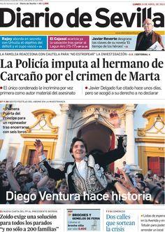 Los Titulares y Portadas de Noticias Destacadas Españolas del 15 de Abril de 2013 del Diario de Sevilla ¿Que le parecio esta Portada de este Diario Español?