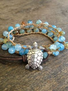 Turtle Crochet & Leather Multi Wrap Bracelet