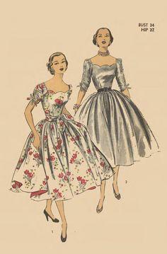 Vintage Scallop Neckline Ruched Sleeve Full Skirt Dress Pattern 6122 FF Vintage Dress Patterns, Clothing Patterns, Vintage Dresses, Vintage Outfits, 50s Outfits, Sixties Fashion, 1950s Fashion, Vintage Fashion, Mens Fashion