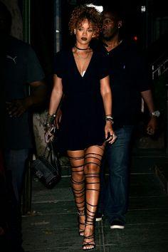Rihanna: Little Black Dress + Lace Up Heels