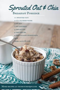 Sprouted oat & chia breakfast porridge // This House of Joy