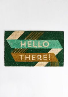 Hello there! Loving this cute typographic doormat.