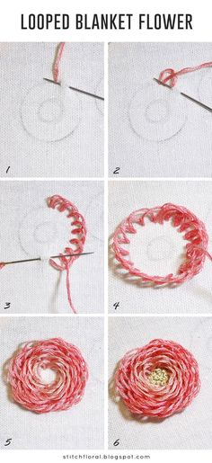 Looped blanket flower tutorial  #handembroidery #embroidery #embroideryart #stitch #stitching #needlework #tutorial