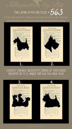 A silhouette of the Scottish Terrier carefully hand-cut out of acid free paper. The silhouette is mounted on to a unique breed specific page