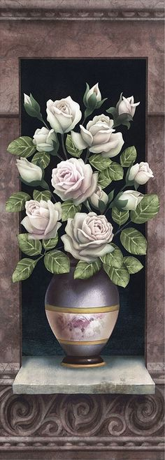 Love this particular one. Flower Images, Flower Art, Rose Vase, Turkish Art, Artwork Images, Decoupage Paper, Tole Painting, Botanical Prints, Beautiful Roses