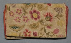 Textiles (Needlework) - Pocketbook      Category:      Textiles (Needlework)     Place of Origin:      United States, North America     Date:      1740-1780     Materials:      Wool; Linen; Silk