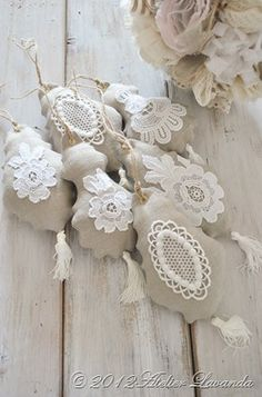 linen and lace ornaments