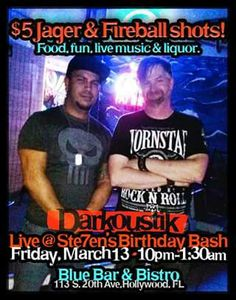 Friday the 13th is my birthday, and I'll be singing with my acoustic duo Darkoustik in Hollywood at Blue Bar! Come celebrate with me. Starts at 10pm.
