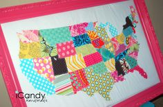 My Continental United States - iCandy handmade Crafts To Do, Arts And Crafts, Diy Crafts, Creative Crafts, Creative Ideas, Sewing Crafts, Sewing Projects, Sewing Ideas, Fabric Scraps