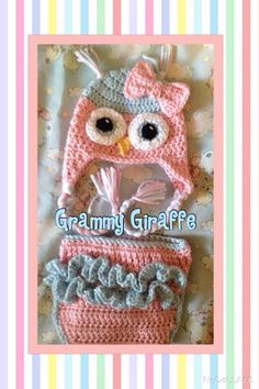 Crochet owl hat and ruffle diaper cover for baby girl (Repeat Crafter Me pattern)