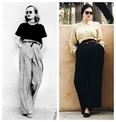 """Jessica Parker on Instagram: """"Not too shabby 😆 #ootd featuring early #1940s slacks by Loomtogs from @smallearthvintage and a California made twill blouse from…"""" Slacks, 1940s, High Waisted Skirt, Shabby, Ootd, California, Blouse, Skirts, Instagram"""