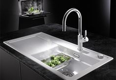 BLANCO ZENAR XL 6 S SteamerPlus - new sink for designed for the trays from your steam oven to fit in Oven Recipes, Great Recipes, Kitchen Knives, Kitchen Sink, Sink Taps, Sinks, Building A Kitchen, Cooking Pumpkin, Potato Dishes