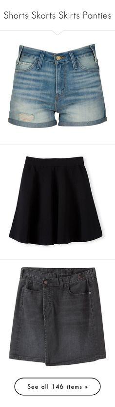 """Shorts Skorts Skirts Panties"" by samtiritilli666lol ❤ liked on Polyvore featuring shorts, bottoms, pants, high waisted denim shorts, short denim shorts, high rise denim shorts, cotton shorts, high-waisted jean shorts, skirts and flared skirt"
