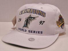 Florida Marlins 1997 World  Series Champs Vintage 90's Signatures Snapback Hat #Signatures #FloridaMarlins