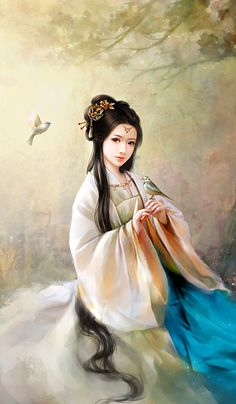 A young maiden playing with finches Painting Of Girl, China Painting, Chinese Drawings, China Art, Creative Pictures, Fairy Art, Anime Art Girl, Ancient Art, Beautiful Paintings