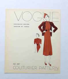 """1930s Vogue Couturier Dress Pattern Style # 487  Display """"Page""""  Dress"""