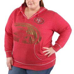 San Francisco 49ers Majestic Women's Plus Size Crossblock Pullover Sweatshirt – Scarlet - $32.99