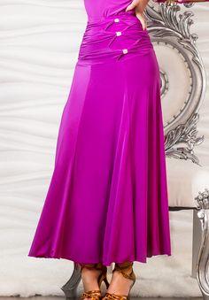 Dance America S610 - Long Triple Stone Buttoned Skirt| Dancesport Fashion @ DanceShopper.com