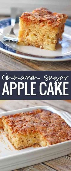 Cinnamon Sugar Apple Cake - A fresh, warm, and delicious dessert | Pinch of Yum