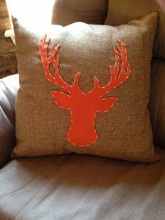 Hunting themed nursery DIY deer burlap pillow made with felt