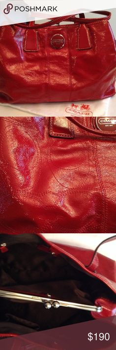 Coach Signature Stitched Patent Leather Carryall LIKE NEW! Brilliant crimson red bag with 3 generous compartments. No signs of use or wear. Authentic. Coach Bags Satchels