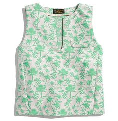 This Le Mont St. Michele Cropped Hawaiian-Print Tank is the perfect crop top for the season.
