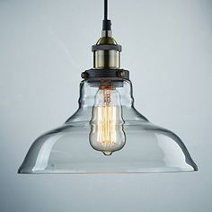 Ecopower Industrial Edison Vintage Style 1-Light Pendant Glass Hanging Light - - Amazon.com