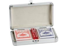 2 Decks of Plastic Coated Playing Cards in Solid Aluminum Case ♥