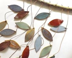 Stoneware Ceramic Leaf Chimes Mobile, Made to Order. $55.00, via Etsy.