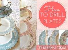 How To Drill Through Plates and make vintage plate cake stands. Four easy to fol. How To Drill Thr Dremel Projects, Diy Projects To Try, Craft Projects, Furniture Projects, Vintage Plates, Vintage Tea, China Crafts, Vintage Cake Stands, Broken China Jewelry