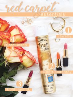 The red carpet essentials you need to get through awards season! Start with the perfect jewelry, then add some lipstick, a spritz of Elnett Satin hairspray and a bouquet of flowers for inspiration! From L'Oréal Paris