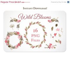 16 Organic Blooms Pink and Brown Design Elements - Hand Drawn Graphics perfect for Scrapbooking or Embellishing your Blog or Website,https://www.etsy.com/listing/150275226