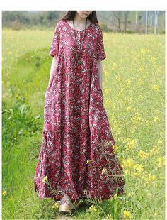 2017 new Summer short-sleeved cotton linen printed dress long flower robe  #dress #dresses #dressup  #dressmurah #blackdress #whitedress #LongDress #dressedup #maxidress #dressage #partydress #reddress #dressing #dresstoimpress #loosedress #fancydress #dresscode