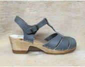 Diamond Strap Clogs - Slate Leather - Mid Heels