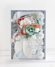 'Be Happy' card by Alena Grinchuk DT for Kaisercraft using 'Boho Dreams' collection.
