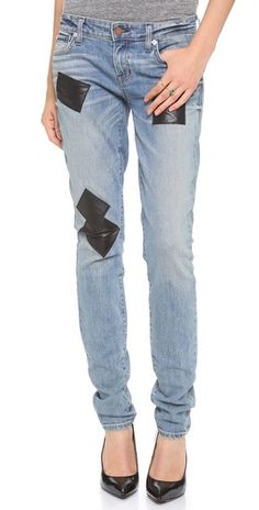 leather patched skinny jeans