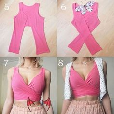 Diy Fashion Tops, Diy Fashion No Sew, Diy Fashion Projects, Trendy Fashion, Fashion Outfits, Diy Projects, Dress Fashion, Rave Outfits, Fashion Ideas